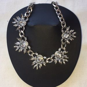 Nordstrom Silver Jeweled Statement Necklace NWT